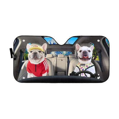 gearhumans 3D Loving White Bulldogs Couple Custom Car Auto Sunshade GV17067 Auto Sunshade 57''x27.5''