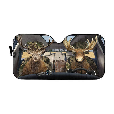 gearhumans 3D Moose and Elk Custom Car Auto Sunshade GS26066 Auto Sunshade 57''x27.5''