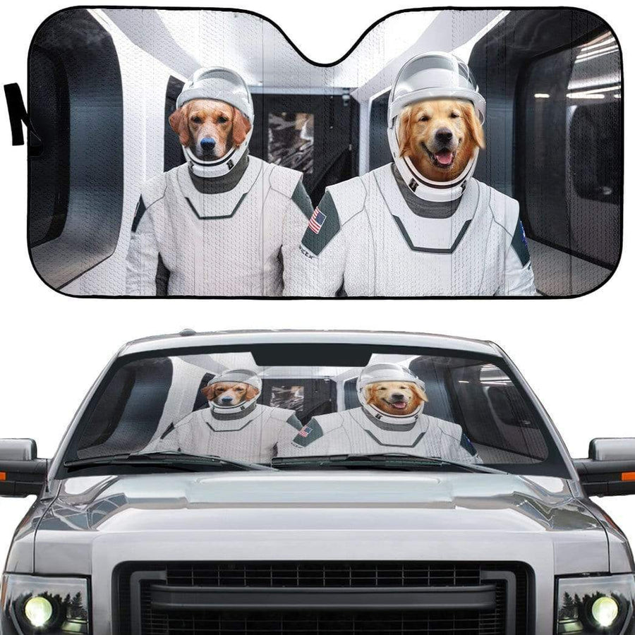 gearhumans 3D Space X Golden Retriever Custom Car Auto Sunshade GV01065 Auto Sunshade 57''x27.5''