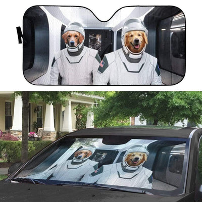 gearhumans 3D Space X Golden Retriever Custom Car Auto Sunshade GV01065 Auto Sunshade
