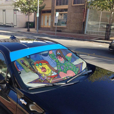 gearhumans 3D Spongebob And Patrick Hippie Custom Car Auto Sunshade GL100834 Auto Sunshade