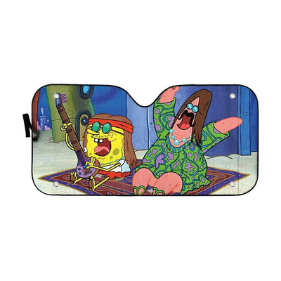 gearhumans 3D Spongebob And Patrick Hippie Custom Car Auto Sunshade GL100834 Auto Sunshade 57''x27.5''