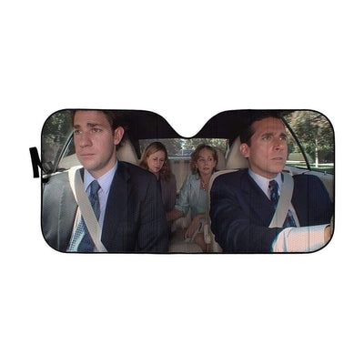 gearhumans 3D The Office Double Date Custom Car Auto Sunshade GW27075 Auto Sunshade 57''x27.5''