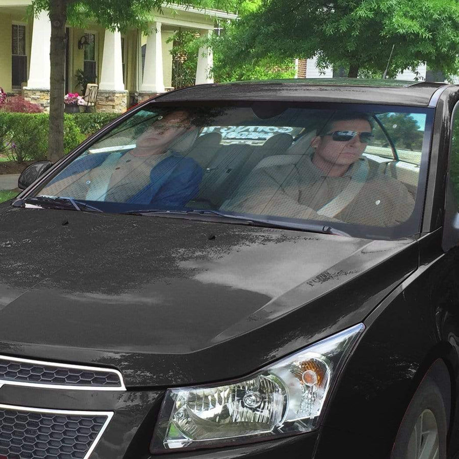 gearhumans 3D The Office Michael Scott And Dwight Schrute Custom Car Auto Sunshade