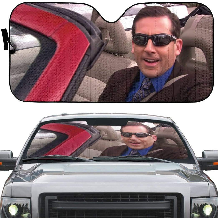 gearhumans 3D The Office Michael Scott Driving Custom Car Auto Sunshade