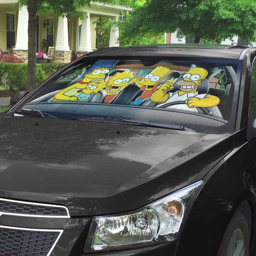 gearhumans 3D The Simpsons Custom Car Auto Sunshade GV19074 Auto Sunshade 57''x27.5''