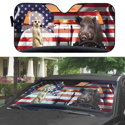 gearhumans 3D Timon And Pumbaa America Custom Car Auto Sunshade GL06076 Auto Sunshade