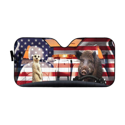 gearhumans 3D Timon And Pumbaa America Custom Car Auto Sunshade GL06076 Auto Sunshade 57''x27.5''