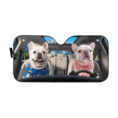 gearhumans 3D Two Bulldog In Car Custom Car Auto Sunshade GV220617 Auto Sunshade 57''x27.5''