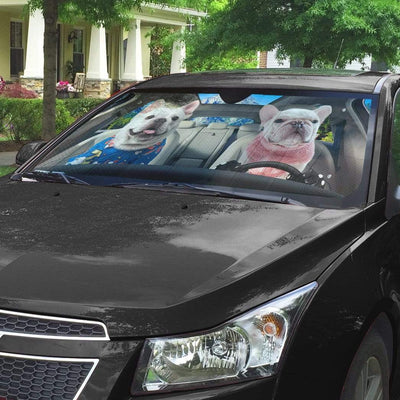 gearhumans 3D Two Bulldog In Car Custom Car Auto Sunshade GV220617 Auto Sunshade