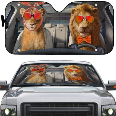 gearhumans 3D Two Cool Lions Custom Car Auto Sunshade GN14072 Auto Sunshade
