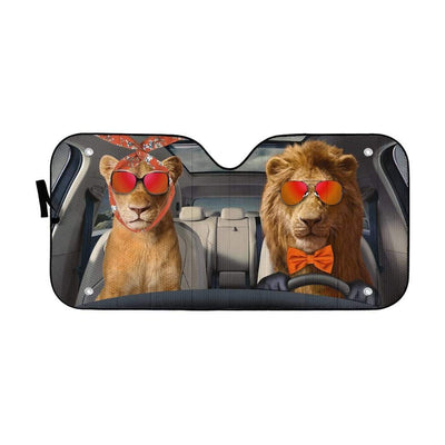 gearhumans 3D Two Cool Lions Custom Car Auto Sunshade GN14072 Auto Sunshade 57''x27.5''