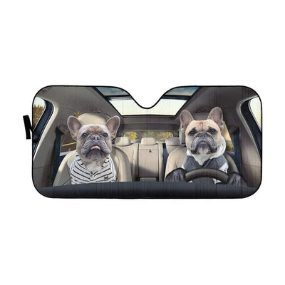 gearhumans 3D Two Friend French Bulldog In Car Custom Car Auto Sunshade GV23066 Auto Sunshade 57''x27.5''