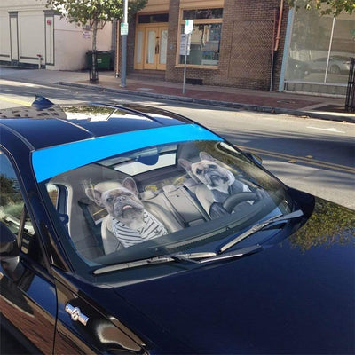 gearhumans 3D Two Friend French Bulldog In Car Custom Car Auto Sunshade GV23066 Auto Sunshade