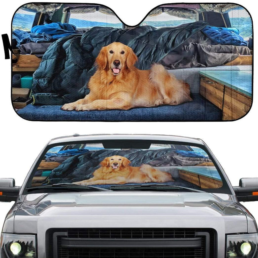 gearhumans 3D Vanlife With Golden Retriever Custom Car Auto Sunshade GW12051 Auto Sunshade 57''x27.5''