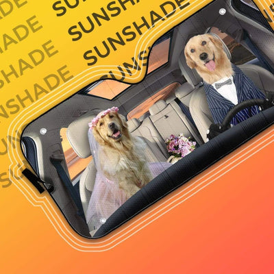 gearhumans 3D Wedding Golden Retriever Dogs Custom Car Auto Sunshade GV08065 Auto Sunshade