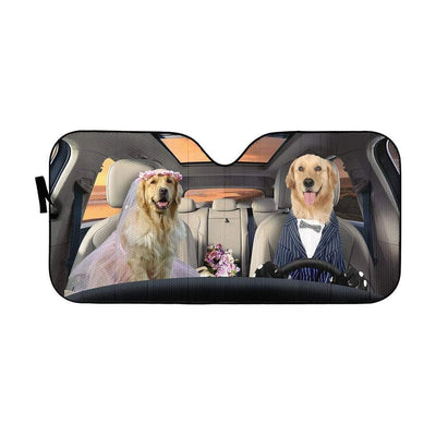 gearhumans 3D Wedding Golden Retriever Dogs Custom Car Auto Sunshade GV08065 Auto Sunshade 57''x27.5''
