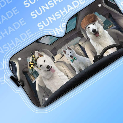 gearhumans 3D White Shepherd Dogs Custom Car Auto Sunshade GW09065 Auto Sunshade