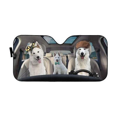 gearhumans 3D White Shepherd Dogs Custom Car Auto Sunshade GW09065 Auto Sunshade 57''x27.5''