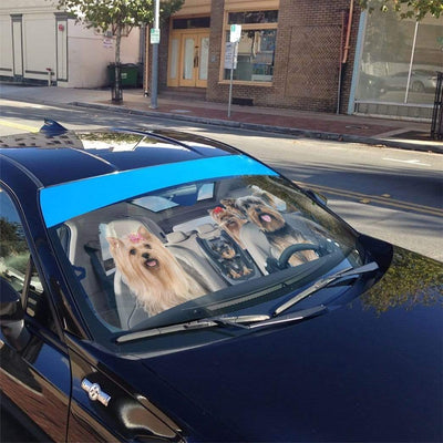 gearhumans 3D Yorkshire Terrier Custom Car Auto Sunshade GS1704 Auto Sunshade