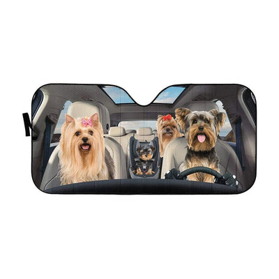 gearhumans 3D Yorkshire Terrier Custom Car Auto Sunshade GS1704 Auto Sunshade 57''x27.5''
