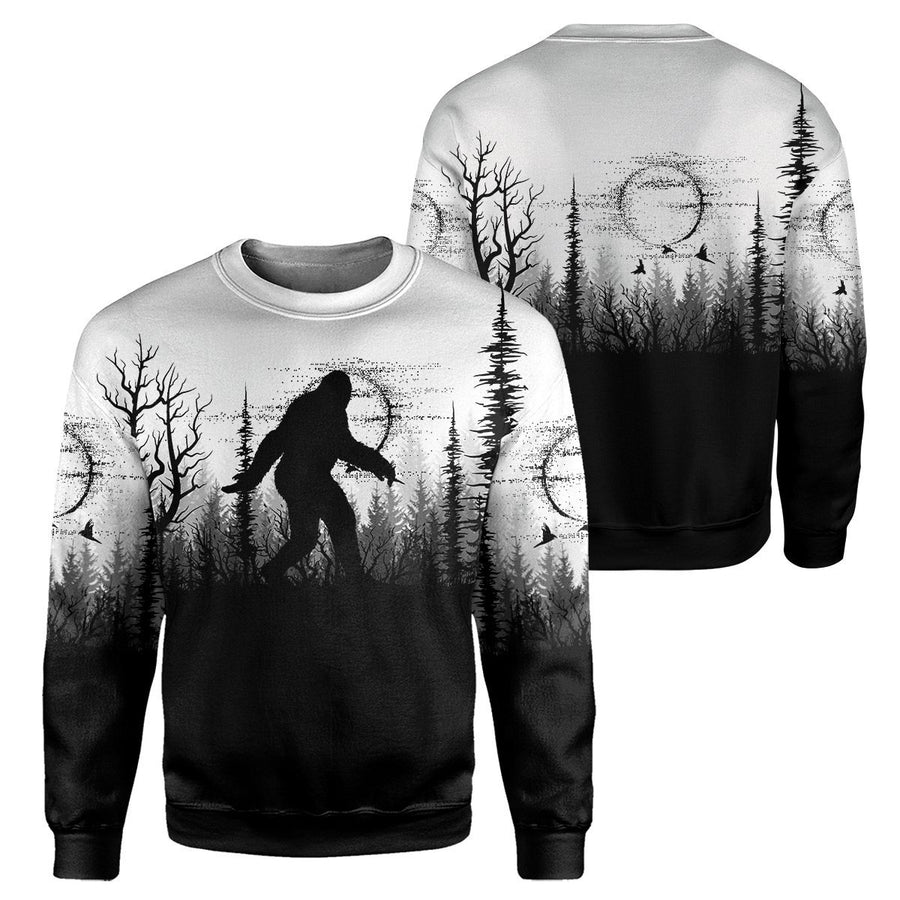 Gearhumans Bigfoot Black And White - 3D All Over Printed Shirt shirt 3D Apparel HOODIE S