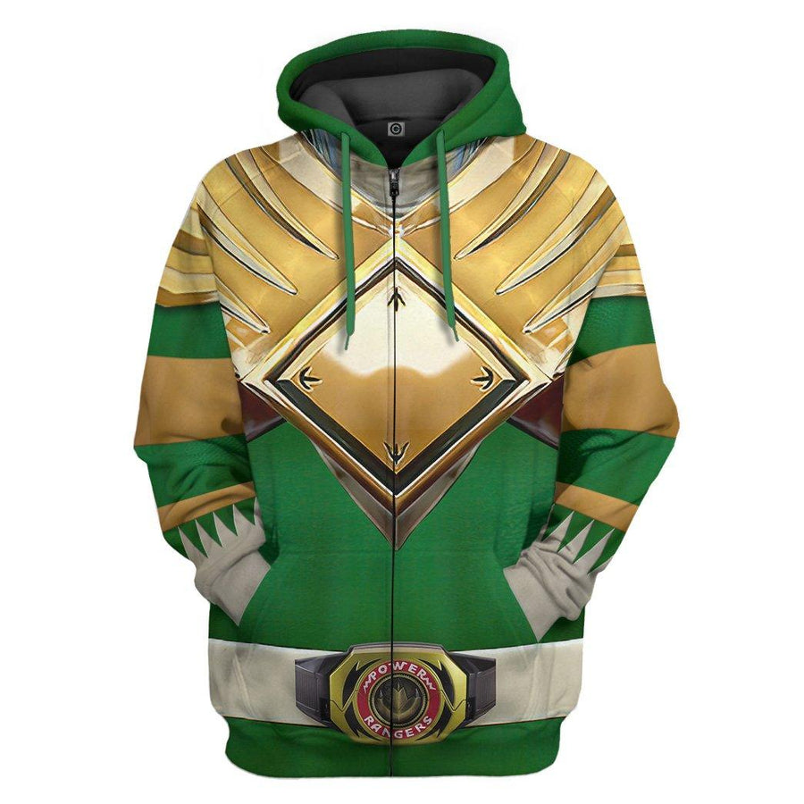 Gearhumans Mighty Morphin Green Power Rangers Custom Hoodie Apparel