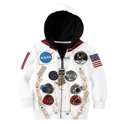 Nasa astronaut Kid Custom Hoodies T-shirt Apparel HD-GH20365K kid 3D apparel Kid Zip Hoodie 2XS