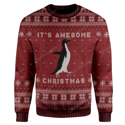 Ugly Awesome Penguin Christmas Custom Sweater Apparel AN-DT2711194 Ugly Christmas Sweater Long Sleeve S