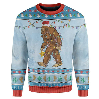 Ugly Christmas Bigfoot Sweater Apparel HD-TA2711193 Ugly Christmas Sweater Long Sleeve S