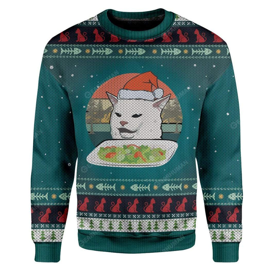 Ugly Christmas Cat Custom Sweater Apparel HD-AT16111916 Ugly Christmas Sweater Long Sleeve S