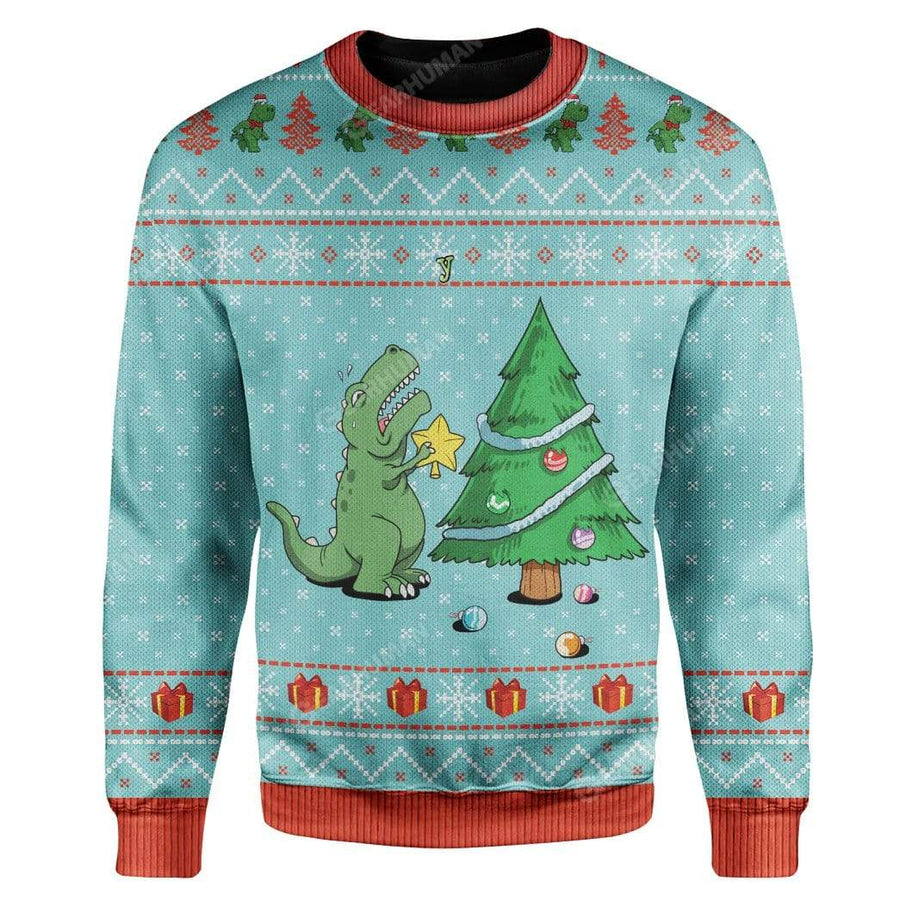 Ugly Christmas Dinosaur Custom Sweater Apparel