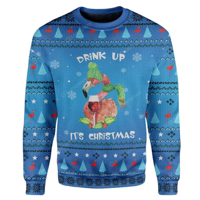 Ugly Christmas Drinking Flamingo Custom Sweater Apparel HD-TA25111908 Ugly Christmas Sweater Long Sleeve S