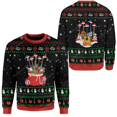 Ugly Christmas Guitars Santa Custom Sweater Apparel HD-DT25111910 Ugly Christmas Sweater