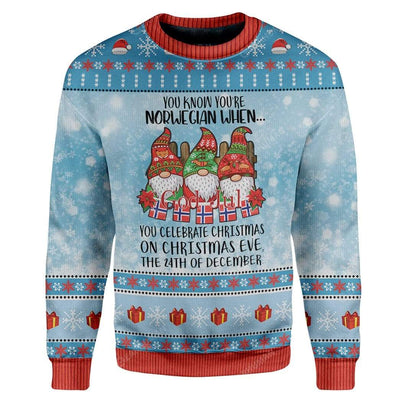 Ugly Christmas Norwegian Christmas 24th Custom Sweater Apparel HD-AT2611191 Ugly Christmas Sweater Long Sleeve S