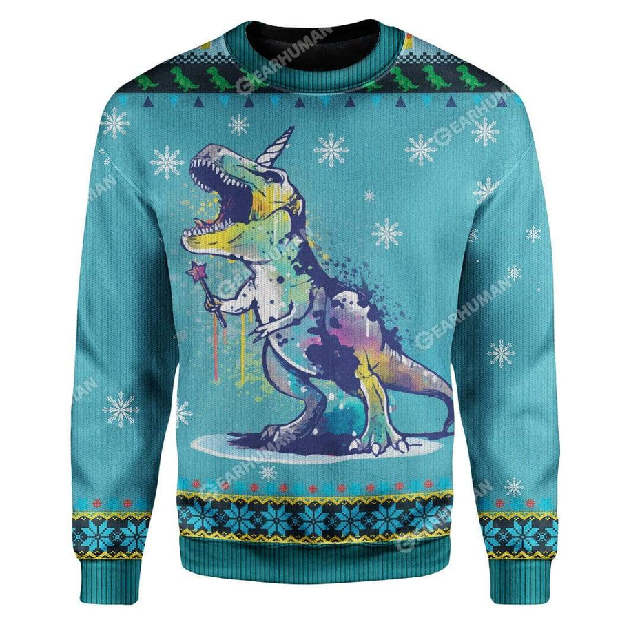 Ugly Christmas TUnicorn Rex Sweater Apparel
