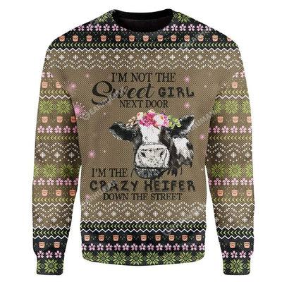 Ugly Cow Custom T-shirt - Hoodies Apparel HD-AT07111902 Ugly Christmas Sweater Long Sleeve S
