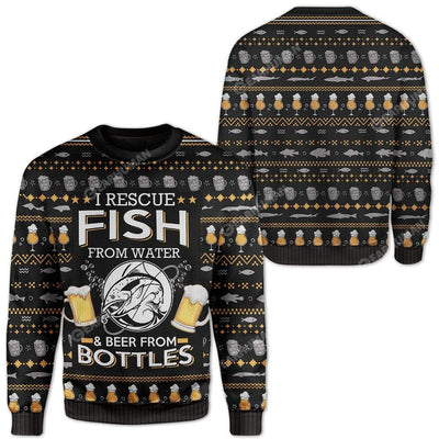 Ugly Fish And Beer Custom Sweater Apparel HD-DT22111916 Ugly Christmas Sweater