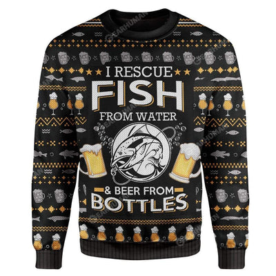 Ugly Fish And Beer Custom Sweater Apparel HD-DT22111916 Ugly Christmas Sweater Long Sleeve S