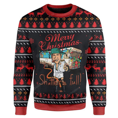 Ugly Merry Christmas Sh*tter's Full Custom Sweater Apparel MV-AT2811194 Ugly Christmas Sweater Long Sleeve S