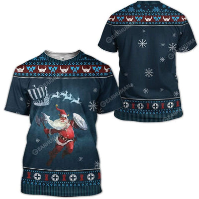 Ugly Merry Viking Christmas Custom T-Shirts Hoodies Apparel VK-DT2811194 3D Custom Fleece Hoodies