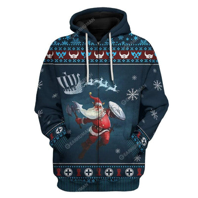 Ugly Merry Viking Christmas Custom T-Shirts Hoodies Apparel VK-DT2811194 3D Custom Fleece Hoodies Zip Hoodie S
