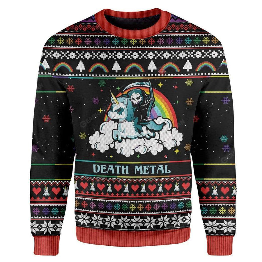 Gearhumans Ugly Sweater Death Metal Hoodie T-Shirts Apparel