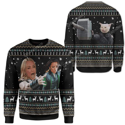 Ugly Woman Yelling At A Cat Custom Sweater Apparel HD-AT19111906 Ugly Christmas Sweater