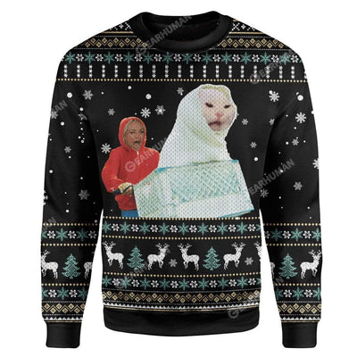 Ugly Woman Yelling At A Cat Terrestrial Custom Sweater Apparel MV-AT2611192 Ugly Christmas Sweater Long Sleeve S
