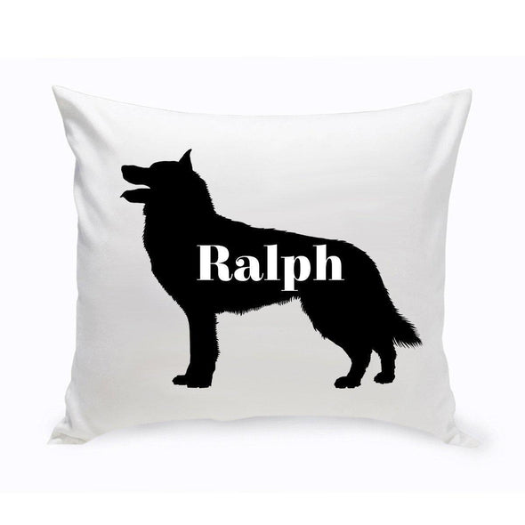 Personalized Dog Throw Pillow - Dog Silhouette - Collie - JDS