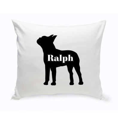 Personalized Dog Throw Pillow - Dog Silhouette - BostonTerrier - JDS