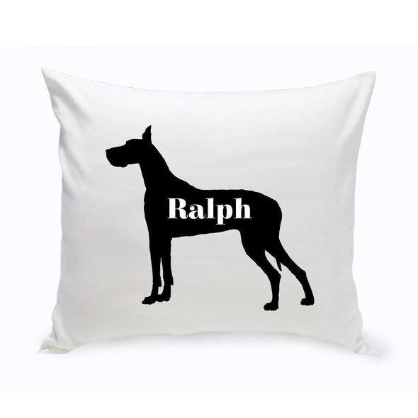 Personalized Dog Throw Pillow - Dog Silhouette - GreatDane - JDS