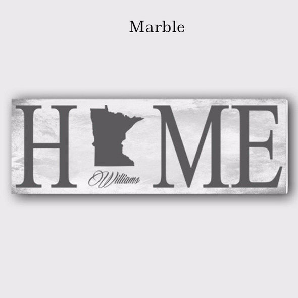 Personalized Home State Canvas Sign - White - JDS