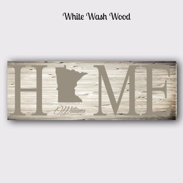 Personalized Home State Canvas Sign - Tan - JDS